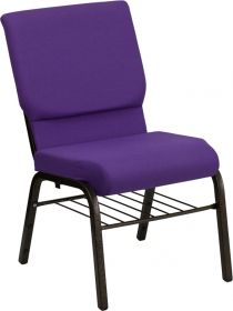 HERCULES Series 18.5''W Purple Fabric Church Chair with 4.25'' Thick Seat, Book Rack - Gold Vein Frame [XU-CH-60096-PU-BAS-GG]