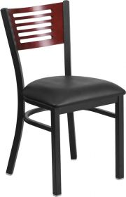 HERCULES Series Black Decorative Slat Back Metal Restaurant Chair - Mahogany Wood Back, Black Vinyl Seat [XU-DG-6G5B-MAH-BLKV-GG]