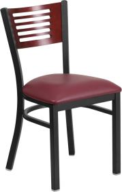 HERCULES Series Black Decorative Slat Back Metal Restaurant Chair - Mahogany Wood Back, Burgundy Vinyl Seat [XU-DG-6G5B-MAH-BURV-GG]