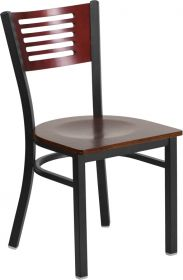 HERCULES Series Black Decorative Slat Back Metal Restaurant Chair - Mahogany Wood Back & Seat [XU-DG-6G5B-MAH-MTL-GG]