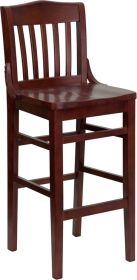 HERCULES Series Mahogany Finished School House Back Wooden Restaurant Barstool [XU-DG-W0006BAR-MAH-GG]