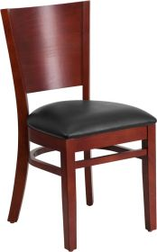 Lacey Series Solid Back Mahogany Wooden Restaurant Chair - Black Vinyl Seat [XU-DG-W0094B-MAH-BLKV-GG]