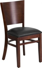 Lacey Series Solid Back Walnut Wooden Restaurant Chair - Black Vinyl Seat [XU-DG-W0094B-WAL-BLKV-GG]