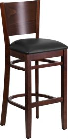 Lacey Series Solid Back Walnut Wooden Restaurant Barstool - Black Vinyl Seat [XU-DG-W0094BAR-WAL-BLKV-GG]