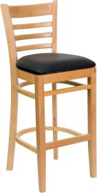HERCULES Series Natural Wood Finished Ladder Back Wooden Restaurant Barstool - Black Vinyl Seat [XU-DGW0005BARLAD-NAT-BLKV-GG]