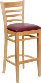 HERCULES Series Natural Wood Finished Ladder Back Wooden Restaurant Barstool - Burgundy Vinyl Seat [XU-DGW0005BARLAD-NAT-BURV-GG]
