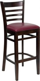HERCULES Series Walnut Finished Ladder Back Wooden Restaurant Barstool - Burgundy Vinyl Seat [XU-DGW0005BARLAD-WAL-BURV-GG]