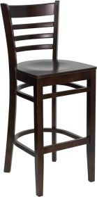 HERCULES Series Walnut Finished Ladder Back Wooden Restaurant Barstool [XU-DGW0005BARLAD-WAL-GG]