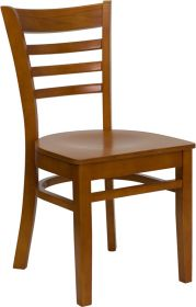 HERCULES Series Cherry Finished Ladder Back Wooden Restaurant Chair [XU-DGW0005LAD-CHY-GG]