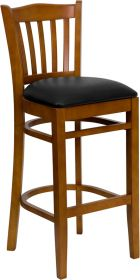 HERCULES Series Cherry Finished Vertical Slat Back Wooden Restaurant Barstool - Black Vinyl Seat [XU-DGW0008BARVRT-CHY-BLKV-GG]