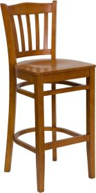 HERCULES Series Cherry Finished Vertical Slat Back Wooden Restaurant Barstool [XU-DGW0008BARVRT-CHY-GG]
