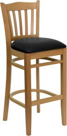 HERCULES Series Natural Wood Finished Vertical Slat Back Wooden Restaurant Barstool - Black Vinyl Seat [XU-DGW0008BARVRT-NAT-BLKV-GG]