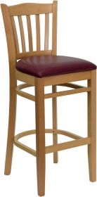 HERCULES Series Natural Wood Finished Vertical Slat Back Wooden Restaurant Barstool - Burgundy Vinyl Seat [XU-DGW0008BARVRT-NAT-BURV-GG]