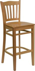 HERCULES Series Natural Wood Finished Vertical Slat Back Wooden Restaurant Barstool [XU-DGW0008BARVRT-NAT-GG]