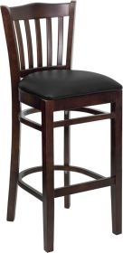 HERCULES Series Walnut Finished Vertical Slat Back Wooden Restaurant Barstool - Black Vinyl Seat [XU-DGW0008BARVRT-WAL-BLKV-GG]