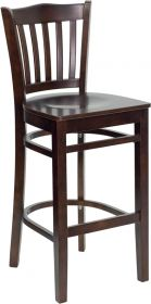HERCULES Series Walnut Finished Vertical Slat Back Wooden Restaurant Barstool [XU-DGW0008BARVRT-WAL-GG]