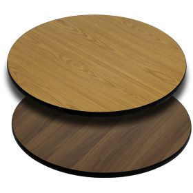 36'' Round Table Top with Natural or Walnut Reversible Laminate Top [XU-RD-36-WNT-GG]