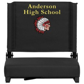 Embroidered Game Day Seats by Flash with Ultra-Padded Seat in Black [XU-STA-BK-EMB-GG]