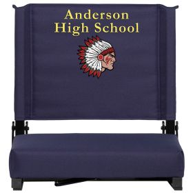 Embroidered Game Day Seats by Flash with Ultra-Padded Seat in Navy [XU-STA-NVY-EMB-GG]