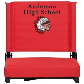 Embroidered Game Day Seats by Flash with Ultra-Padded Seat in Red [XU-STA-RED-EMB-GG]