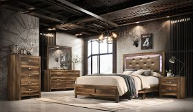 Yasmin Contemporary Bedroom Set in Brown