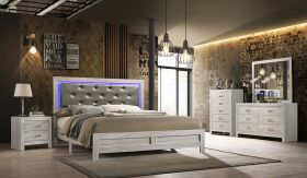 Yasmin Contemporary Bedroom Set in White