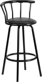 Crown Back Black Metal Barstool with Black Vinyl Swivel Seat [YB-Y-J909-KD-GG]