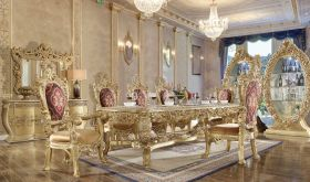 Alberta Traditional Dining Room Set in Gold