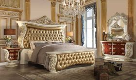 Conner Traditional Bedroom Set in Antique Ivory & Gold