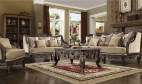 Florence Traditional Living Room Set in Antique Cappuccino