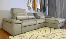Yonah Modern Functional Sectional Sofa with Bed & Storage in Silver Gray