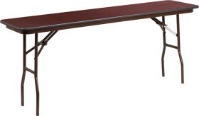 18'' x 72'' Rectangular Mahogany Melamine Laminate Folding Training Table [YT-1872-MEL-WAL-GG]
