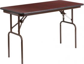 24'' x 48'' Rectangular Mahogany Melamine Laminate Folding Banquet Table [YT-2448-MEL-WAL-GG]