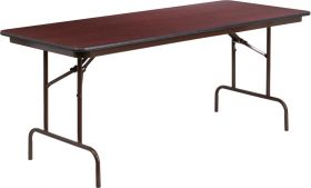 30'' x 72'' Rectangular Mahogany Melamine Laminate Folding Banquet Table [YT-3072-MEL-WAL-GG]