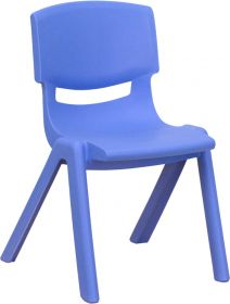 Blue Plastic Stackable School Chair with 12'' Seat Height [YU-YCX-001-BLUE-GG]
