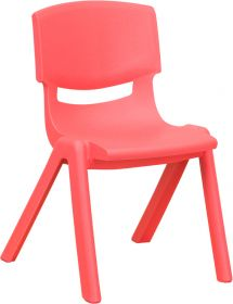 Red Plastic Stackable School Chair with 12'' Seat Height [YU-YCX-001-RED-GG]