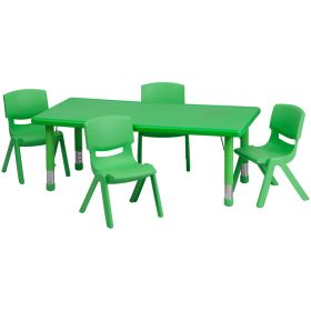 24''W x 48''L Adjustable Rectangular Green Plastic Activity Table Set with 4 School Stack Chairs [YU-YCX-0013-2-RECT-TBL-GREEN-R-GG]