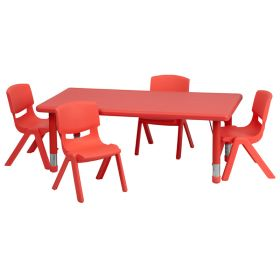 24''W x 48''L Adjustable Rectangular Red Plastic Activity Table Set with 4 School Stack Chairs [YU-YCX-0013-2-RECT-TBL-RED-R-GG]