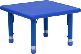 24'' Square Height Adjustable Blue Plastic Activity Table [YU-YCX-002-2-SQR-TBL-BLUE-GG]