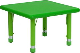 24'' Square Height Adjustable Green Plastic Activity Table [YU-YCX-002-2-SQR-TBL-GREEN-GG]