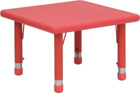 24'' Square Height Adjustable Red Plastic Activity Table [YU-YCX-002-2-SQR-TBL-RED-GG]