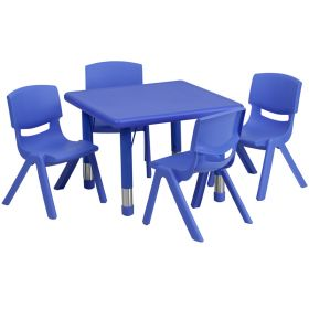 24'' Square Adjustable Blue Plastic Activity Table Set with 4 School Stack Chairs [YU-YCX-0023-2-SQR-TBL-BLUE-E-GG]