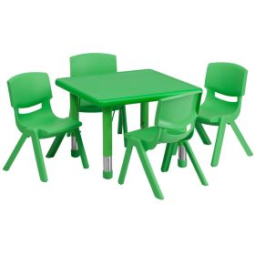 24'' Square Adjustable Green Plastic Activity Table Set with 4 School Stack Chairs [YU-YCX-0023-2-SQR-TBL-GREEN-E-GG]