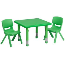 24'' Square Adjustable Green Plastic Activity Table Set with 2 School Stack Chairs [YU-YCX-0023-2-SQR-TBL-GREEN-R-GG]