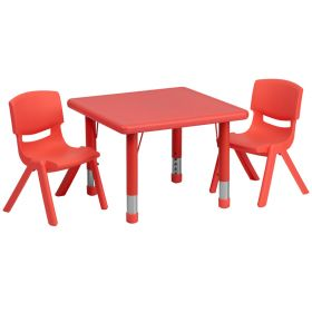 24'' Square Adjustable Red Plastic Activity Table Set with 2 School Stack Chairs [YU-YCX-0023-2-SQR-TBL-RED-R-GG]