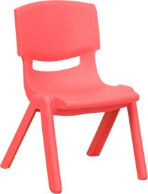 Red Plastic Stackable School Chair with 10.5'' Seat Height [YU-YCX-003-RED-GG]