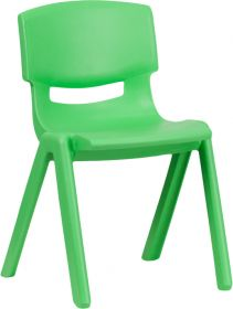 Green Plastic Stackable School Chair with 13.25'' Seat Height [YU-YCX-004-GREEN-GG]