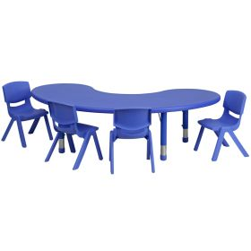 35''W x 65''L Adjustable Half-Moon Blue Plastic Activity Table Set with 4 School Stack Chairs [YU-YCX-0043-2-MOON-TBL-BLUE-E-GG]
