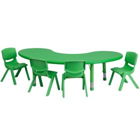 35''W x 65''L Adjustable Half-Moon Green Plastic Activity Table Set with 4 School Stack Chairs [YU-YCX-0043-2-MOON-TBL-GREEN-E-GG]