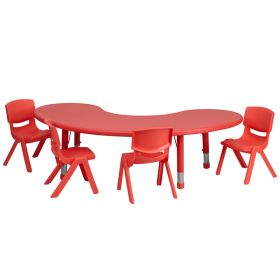 35''W x 65''L Adjustable Half-Moon Red Plastic Activity Table Set with 4 School Stack Chairs [YU-YCX-0043-2-MOON-TBL-RED-E-GG]